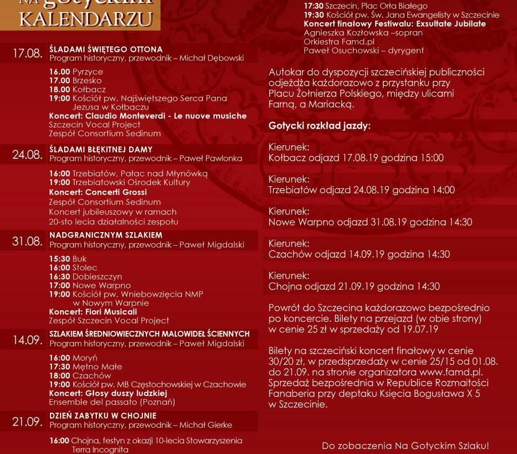 X Jubileuszowy Letni Festiwal Wędrowny Na Gotyckim Szlaku 2019 - Trzebiatów