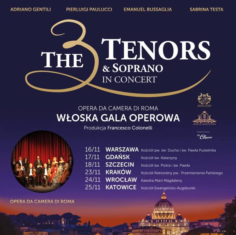 Włoska Gala Operetkowa w Szczecinie: The 3 Tenors & Soprano