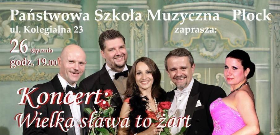 Koncert Noworoczny Wielka Sława to Żart w Państwowej Szkole Muzycznej w Płocku