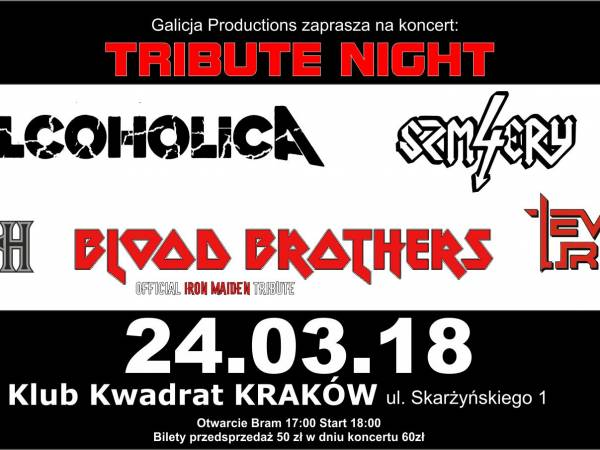 Koncert: Tribute Night - Blood Brothers, Alcoholica, 4 Szmery, Event Urizen, Death Revival w Krakowie